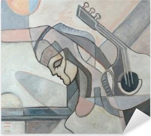 Nálepka Pixerstick Abstraktní malby s ženou a kytaru