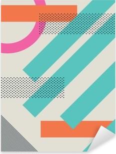Nálepka Pixerstick Abstraktní retro 80s pozadí s geometrickými tvary a struktury. Materiálové provedení tapety.
