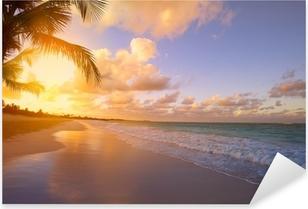 Nálepka Pixerstick Art Krásný východ slunce nad tropickou pláž