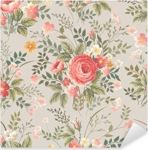 Nálepka Pixerstick Bezešvé květinový vzor s růžemi