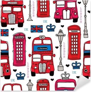 Nálepka Pixerstick Bezešvé láska Londýn Velká Británie červenými jezdit ikona vzor pozadí