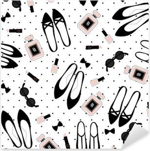 Nálepka Pixerstick Bezešvé módní doplňky vzor. Roztomilý módní ilustrace s černými boty, růžové rtěnky, laky na nehty, parfémy, brýle na puntíky pozadí.