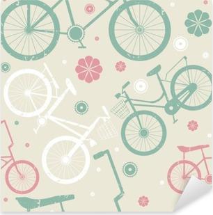 Nálepka Pixerstick Bezešvé vzor s retro jízdních kol a květiny