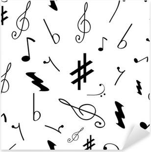 Nálepka Pixerstick Bezešvé vzor s různými hudebními symboly