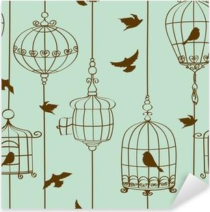 Nálepka Pixerstick Bezešvé vzorek ptáků a klecí
