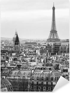 Nálepka Pixerstick Black and White Letecký pohled na Paříž s Eiffelovou věží