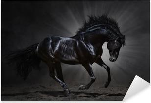 Nálepka Pixerstick Black Andaluský hřebec cválá