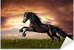 Nálepka Pixerstick Black Fríský kůň cval