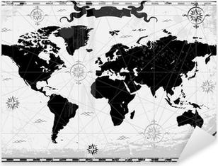 Nálepka Pixerstick Black starověké mapa světa