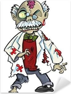 Nálepka Pixerstick Cartoon zombie vědec s mozkem ukazovat. Izolovaných na bílém