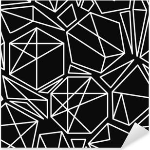 Nálepka Pixerstick Černé a bílé vektorové geometrický vzor bezešvé