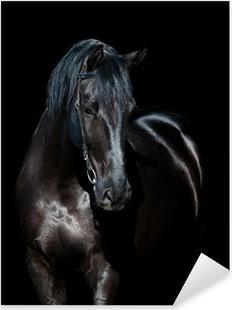 Nálepka Pixerstick Černý kůň izolovaných na černém pozadí