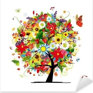Nálepka Pixerstick Čtyři roční období koncept. Umění strom pro svůj design
