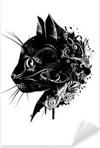 Nálepka Pixerstick Ein květinové verzierter Kopf einer Katze .__ Katzenkopf im Scherenschnitt Stil__