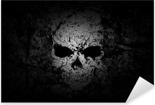 Nálepka Pixerstick Grunge Skull tmavém pozadí
