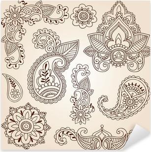 Nálepka Pixerstick Henna Mehndi Doodles Paisley konstrukční prvky