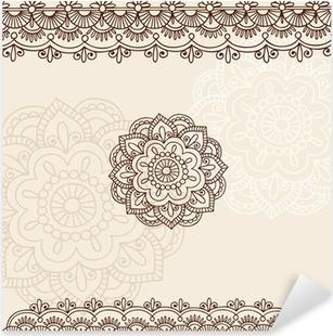 Nálepka Pixerstick Henna Mehndi Mandala Květiny a pohraniční Vektor Doodle
