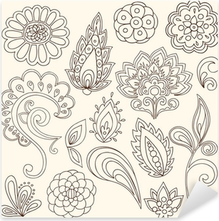 Nálepka Pixerstick Henna Mehndi Paisley tetování vektor konstrukční prvky