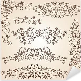 Nálepka Pixerstick Henna Paisley Tattoo Doodle prvky vector design