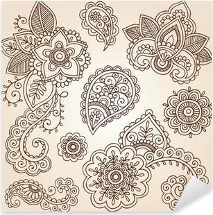 Nálepka Pixerstick Henna Paisley Tattoo Mandala Doodles prvky vector design