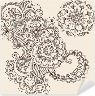 Nálepka Pixerstick Henna Tattoo abstraktní Paisley Flower Doodles Vector
