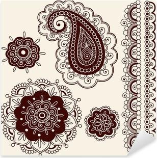 Nálepka Pixerstick Henna Tattoo Paisley Flower Doodles Vector