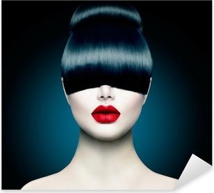 Nálepka Pixerstick High Fashion Model dívka portrét s Trendy Fringe