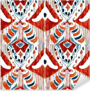 Nálepka Pixerstick Ikat bezešvé bohémský etnický vzor v akvarelu stylu.