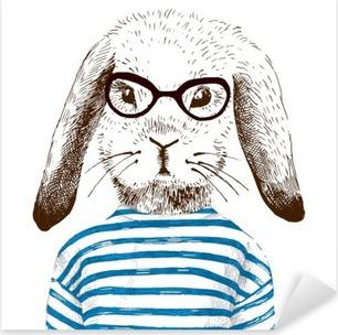 Nálepka Pixerstick Ilustrace oblečená zajíčka