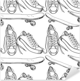 Nálepka Pixerstick Ilustrace Sportovní obuv s skateboard bezešvé vzor, w