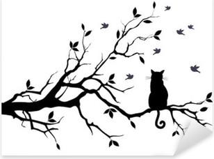 Nálepka Pixerstick Kočka na stromě s ptáky, vektoru
