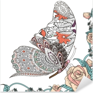 Nálepka Pixerstick Krásná motýla omalovánek