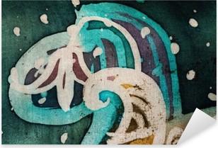 Nálepka Pixerstick Květina, horký batikování, pozadí textury, ruční práce na hedvábí, abstraktní umění surrealismus