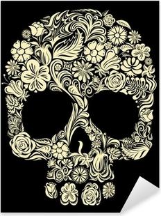 Nálepka Pixerstick Květinové lebka