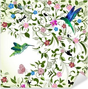 Nálepka Pixerstick Květinové pozadí s ptákem