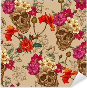 Nálepka Pixerstick Lebka a květiny bezešvé pozadí