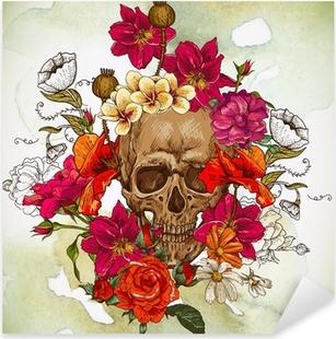 Nálepka Pixerstick Lebka a květiny Den mrtvých