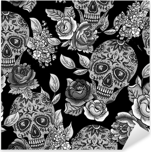 Nálepka Pixerstick Lebka a květiny Monochromatický bezešvé pozadí