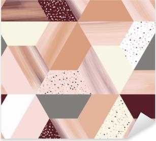 Nálepka Pixerstick Luxusní geometrie hexagonální abstraktní bezproblémové vzorek v růžové zlato / béžové téma s třpytem