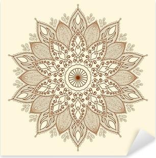 Nálepka Pixerstick Mandala. Krásná ručně tažené květina.