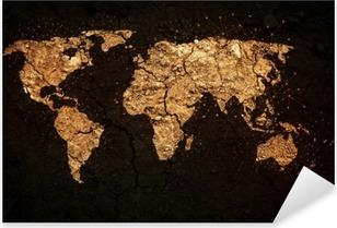Nálepka Pixerstick Mapa světa na pozadí grunge