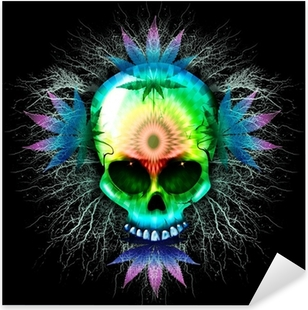 Nálepka Pixerstick Marihuana Psychedelic Skull