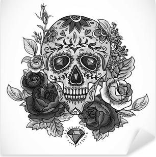 Nálepka Pixerstick Monochromatický Skull, diamant a květiny karty