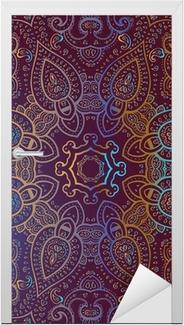 Nálepka na dveře Mandala. Indická dekorativní vzor.