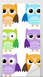 Nálepka na Dveře Sada 12 kreslených sov s různými emocemi