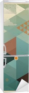 Nálepka na Ledničku Abstraktní Retro Geometrické pozadí s mraky