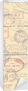 Nálepka na ledničku Poštovné téma pozadí s vintage známek (obklady)
