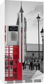Nálepka na Ledničku Red telefonní budka v Londýně s Big Ben v černé a bílé