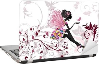 Nálepka na Notebook Květinová víla s motýly