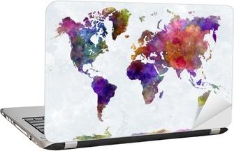 Nálepka na Notebook Mapa světa v watercolorpurple a modré